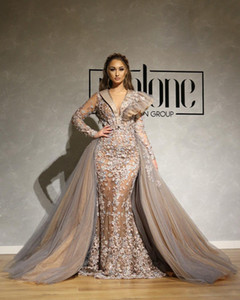 African Dubai Luxurious Lace Evening Dresses Deep V-neck Mermaid Beaded Long Sleeves Prom Dresses Sexy Formal Party Bridesmaid Gowns