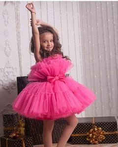 FUCHSIA FLOWER GIRLS VESTES TIERDOS TIRED TUTU TUTU TUTU TUTU TUTU Vestido Mini Breve Niños Vestidos de cumpleaños Primera comunión Vestido