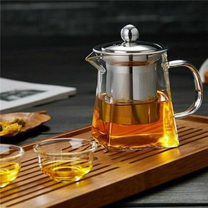 350-950ML Heat Resistant Clear Glass Jug W  Infuser Coffee Tea Leaf Herbal Pot Flower Teapot Milk Juice Container Q1218