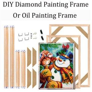 2021 Weihnachten DIY Holz Rahmen für Diamant Malerei DIY Diamant Mosaik Wandrahmen Diamant Stickerei Full Frame Home Decortion 201128