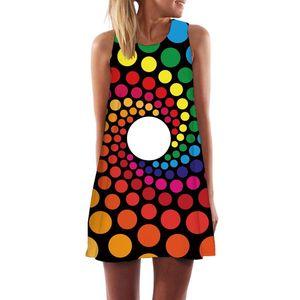 KYKU Brand Dress Women Dizziness Ladies Dresses Colorful 3d Print Vortex Tank Black Hole Vestido Sexy
