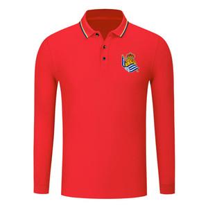 real sociedad algodón de manga larga camiseta camisa de los hombres de la solapa de los hombres de polo de fútbol camiseta de entrenamiento de polo camisa de polo delgada hombres de los polos de