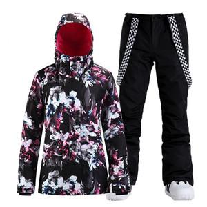 Flower Girls Snow Suit Wear Outdoor Sports Costumes Waterproof Windproof Snowboard Ski Clothing Sets Jacket + Pant Women's -30