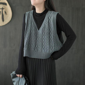 QPFJQD V-Neck Dolce Girls Gilet Pullover 2021 Autunno Spring Semplici signore Vintage Gamewear Maglieria Allentato