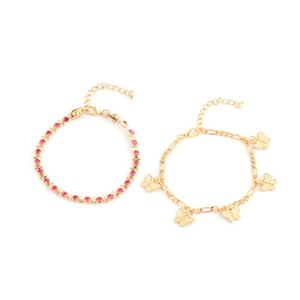 Plated Gold Butterfly Tassels Anklet Crystal Rhinestone Women Alloy Ankle Bracelet Multilayer Chain 2-Piece Suit 3 2my J2B