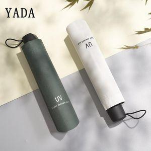 Yada Marca Qualidade Folding cor sólida UV Guarda-chuvas Mulheres Folding chuvoso do guarda-chuva impermeável Parasol Umbrella presente Yd295 bbyNuA lg2010