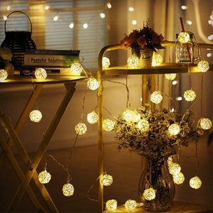 AC110-220V 6m 40leds 10m 100leds Warm White Rattan Ball LED String Light Christmas Holiday Light For Wedding Party Decoration