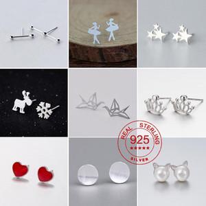 Real 925 Sterling Silver Ballet Earrings for Women Bar Heart Deer Knot Geometric Earrings Small Sterling Silver Jewelry Gift