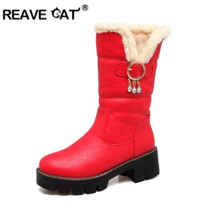 REAVE CAT Large size 34-43 mid calf boots high heels platform women boots high quality pu leather thick winter snow boot A1108