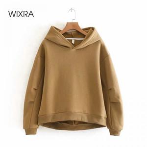 Wixra Kadınlar Fleece Hoodies Sweatshirt Sonbahar Kış Katı Gevşek Kalınlaşmak Kapşonlu Sweatshirt Casual Jumper Kazak 201009