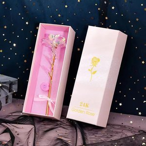 2021 Original Gold Foil Plated Rose Flashing Luminous Rose Flower Golden Rose Wedding Decor Birthday Mother's Day Valentine Day Boxed Gift