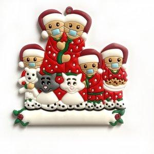Новые рождественские украшения Карантин Семейство Елка кулон ПВХ маска снеговика кулон украшение DHD2240 DIY имя сообщения