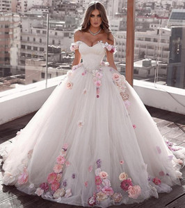 Off Shoulder Flowers prom Ball Gown Beaded Quinceanera Dress Lace Up Back Luxurious Pleated Tulle Sweet 15 Party Dresses