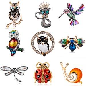 Fashion Rhinestone Brooch Crystal Enamel Cute Cat Owl Birds Animal Brooch Women Clothing Buckles Pins High Quality Accessories