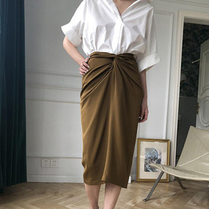 LANMREM 2020 spring summer new high quality Pleated high waist stretch vintage tight skirt famale tide temperament skirt YJ329