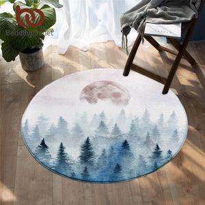 BeddingOutlet Fir Forest Round Floor Carpet for Living Room Misty Trees Area Rug Watercolor Floor Mat Moon Decorative Tapete