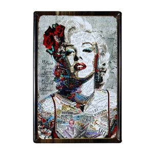 60*40cm Large Retro European-style Iron Sheet Painting Marilyn Monroe Metal Home Decoration Wall Art Paintings Q1107