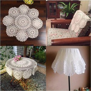 Hand Crocheted Lace Doily Coasters Table Placemat Decor Flower Round Beige Cotton oSo8#