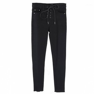 Yamy New Autunning Womens Jeans Fashion Womens Lace-Up Vita Alta Denim Pant Nero / Blu Slim Jeans Inverno Skinny Matita PANT1
