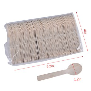 500Pcs Disposable Wooden Spoon Mini Ice Cream Spoon Wood Dessert Scoop Western Wedding Party Tableware Kitchen Accessories Tool