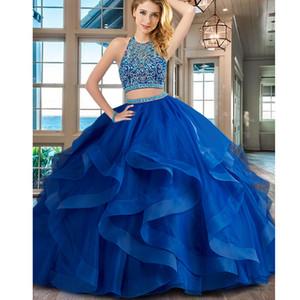 Fantastic Scoop High Collar Beaded Waistline Ruffles With Horsehair Royal Blue Organza Quinceanera Dress Gown Vestido Anos Sweep Train