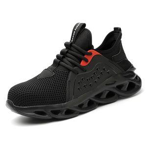 Tênis de trabalho masculino Sneakers de aço tampa de segurança Botas de segurança Botas de conforto Botas de segurança Anti-Punctures Sapatos de segurança Homens Indestrutible Work Botas