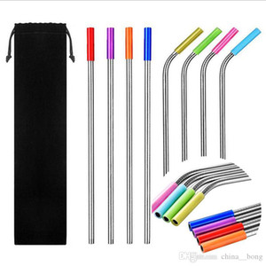 10pcs set 30oz 20oz 4 Straight with 4 Curved stainless steel straws silicone tip 2 cleaning brush reusable drinking straws with carry bag