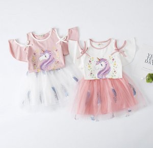 Children's wear girls summer suit new Korean cartoon short sleeve off shoulder T-shirt fashionable fluffy mesh skirt 2-piece set