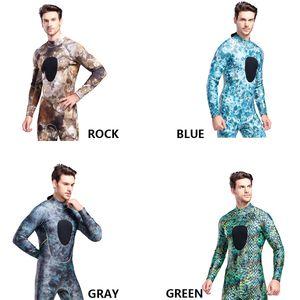 New 3mm Super Elastic Neoprene Diving Suit Men Long Piece Conjoined Camouflage Cold Warm Diving Suit
