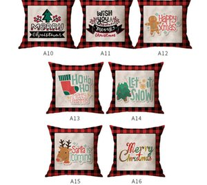 45*45cm Christmas Pillowcases Red Grids Linen Letters Cartoon Pillow Case Xmas Design Throw Pillow Covers Home Decorations E102602