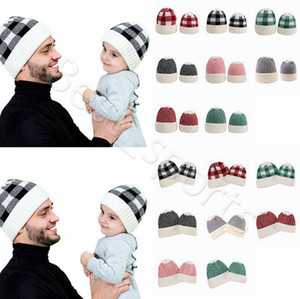Parent-child Beanie 8 Colors Winter Warm Adult Kids Knitted Caps 2Pcs lot Outdoor Sports Beanie Plaid Wool Hats CYZ2860