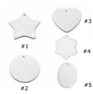Blank White Sublimation Ceramic pendant Creative Christmas ornaments Heat transfer Printing DIY ceramic ornament heart round Christm EEA2175