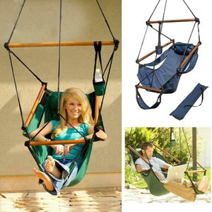 Outdoor Indoor Hanging Hammock Chair Air Deluxe Swing Chair Solid Wood 2 color