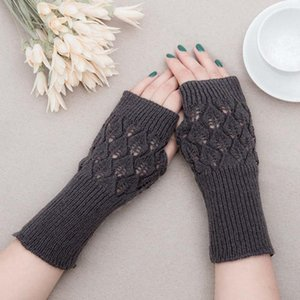 Sparsil Women Fingerless Mittens Stripe Twist Solid Color Warm Knitted Long Glove Autumn Winter Arm Sleeves Wrist Protector