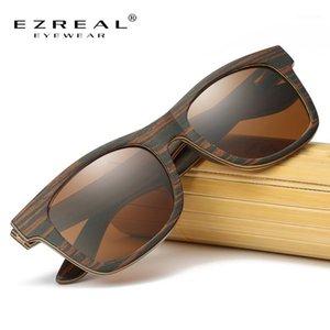Sunglasses en bois naturel Ezreal Hommes Bamboo Sunglasses Marque Designer Bois Polarized Sun Lunettes Drop Shipping1