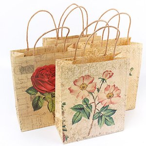 3 Size Kraft paper bag Luxury Party Bags with Rose pattern Kraft Paper Gift Bag With Handles Recyclable Loot 100pcs lot