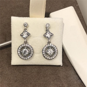 2020Natural Crystal Pendant Earrings Original box Fit Pandora Fashion Sterling silver Jewelry Earring for Women Wedding Gift