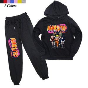 2-14y primavera outono bebê meninos conjuntos de manga comprida crianças com capuz moletom harem calças naruto crianças roupas 201127