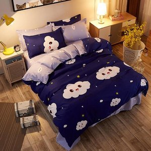 J Cloud 4pcs Girl Boy Kid Bed Cover Set Duvet Cover Adult Child Bed Sheets And Pillowcases Comforter Bedding Set 2TJ-61017