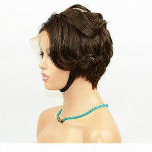 Vancehair 4# color full lace Human Hair Short Wavy Wigs Short Human Hair Pixie Cut Layered Bob Wigs