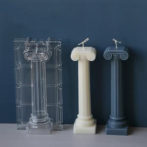 Grande pilastro romano incenso candela stampo trasparente muffa acrilica in acrilico profumato candela del materiale fai da te fabbricazione a candela fatta a mano
