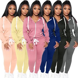 2020 Autumn And Winter Womens Casual Fashion New Design two Piece Suit Zipper Closure Hooded Cardigan Sweater sportswear Suit 3750