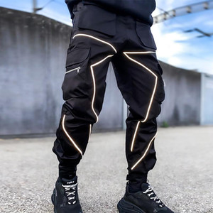 Herrenhose Taschen Freistehende Lose Fracht für männliche Mode Reflektierende Sportkleidung Fitness Running Outdoor Lange aktive Hose
