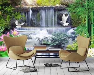 3d Wallpaper Flowing Water Waterfall Bamboo Forest Landscape Custom Romantic Scenery Decorative Silk Mural Wallpaper
