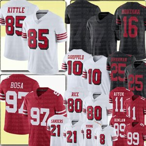 97 Nick Bosa 85 George Kittle Colin Kaepernick Jimmy Garoppolo Jersey Brandon Aiyuk Joe Montana Jerry Riso Richard Sherman Javon Kinlaw