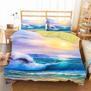 Nevresim 3D Okyanus Dalgaları Set Yastık Yorgan Yatak Giyim ile Ev Tekstili Boyama Yağı Gy8L #