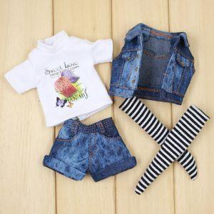 Traje para Muñeca Blyth Un conjunto de jeans West Denim Chaqueta Tshirt Socks and Jeans Pants Traje para 1/6 BJD ICY DBS 201021