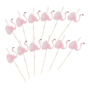 12PCS Adorable Cake Toppers Ballet Flamingo Shape Cupcake Inserts Paper Ornament Party Supplies (Pink)1