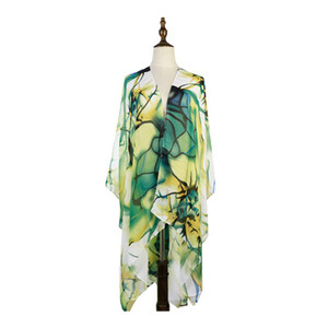 Summer Women Beach Cover-up Print Femme Chiffon Bikini Cover Swimwear Shawls Pareo Sarong Wrap Green