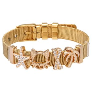 CHIELOYS Fashion Lady Brand Bracelet Stainless Steel Crystal Star & Cat DIY Charm Bracelet Set Girl Birthday Gift Jewelry